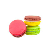 Sweet and colourful french macaroons isolated on white  backgrou Royalty Free Stock Photo