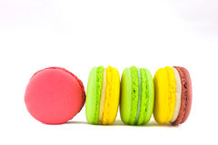 Sweet and colourful french macaroons isolated on white  backgrou Royalty Free Stock Image