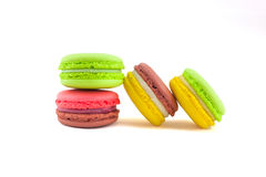Sweet and colourful french macaroons isolated on white  backgrou Royalty Free Stock Images