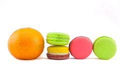 Sweet and colourful french macaroons isolated on white  backgrou Stock Image