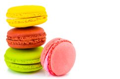 Sweet and colourful french macaroons or macaron on white backgro. Und, Dessert Royalty Free Stock Images