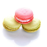 Sweet and colourful french macaroons or macaron on white background Stock Images