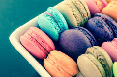 Sweet and colourful french macaroons. Royalty Free Stock Photo