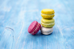 Sweet and colourful french macaroons Royalty Free Stock Image