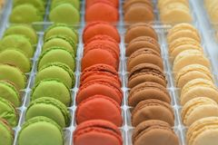 Sweet and colourful french macaroons stock image