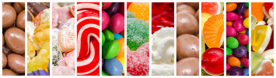 Sweet Confectionery Background Collage. Delicious Sweets Background Collage With Candies, Cookies And Other Confectionery Stock Photography