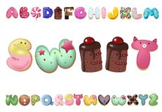 Sweet cookie font. Vector letters baking in colored glaze set. Cartoon vector illustration. Hand drawn font with sweet bun. Actual Creative art bake alphabet royalty free illustration