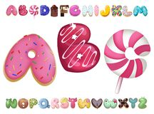 Sweet cookie font. Vector letters baking in colored glaze set. Cartoon vector illustration. Hand drawn font with sweet bun. Actual Creative art bake alphabet stock illustration