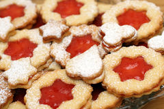 Sweet cookies. With strawberries jam stock images