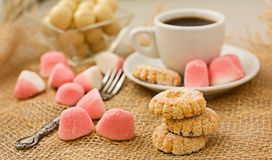 Sweet Cookies And Coffee. Royalty Free Stock Images