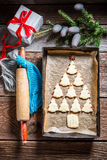 Sweet cookies arranged as a Christmas tree Stock Images