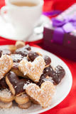 Sweet cookies for with coconut and chocolate Valentine's Day Royalty Free Stock Images