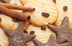 Sweet cookies with coffee and cinnamon Royalty Free Stock Photography