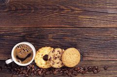 Sweet cookies and coffee Stock Images