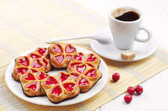 Sweet cookies and cup of coffee Royalty Free Stock Images