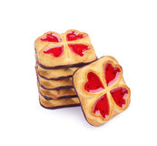 Sweet cookies with jam and chocolate Stock Images