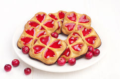 Sweet cookies with jam and cranberry Stock Photography