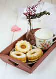 Sweet cookies with milk. A cup of milk with a sweet cookies on the platter Royalty Free Stock Photo