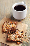 Sweet cookies with nuts and coffee Stock Image