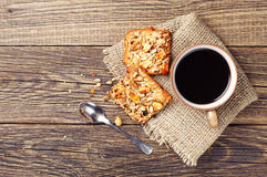 Sweet cookies with nuts and coffee Royalty Free Stock Photo