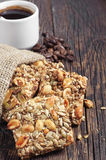 Sweet cookies with nuts and coffee Royalty Free Stock Images
