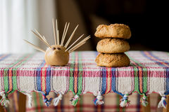 Sweet cookies on a rustic (plaid) tablecloth. Royalty Free Stock Image
