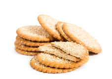 Sweet cookies with sesame seeds Royalty Free Stock Images