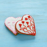 Sweet cookies in the shape of hearts for Valentine's day Stock Image