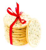 Sweet cookies tied with red ribbon isolated on white background Royalty Free Stock Photos