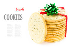 Sweet cookies  tied with red ribbon solated on white background Stock Photo