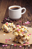 Sweet cookies with white chocolate and coffee Stock Photo