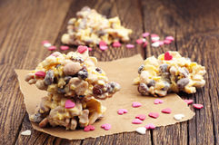 Sweet cookies with white chocolate nuts Royalty Free Stock Images