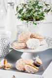 Sweet cookies on white tray with cups of coffee with green and w Royalty Free Stock Photography