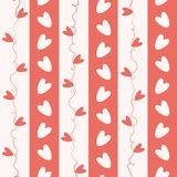 Sweet coral and white doodle hearts seamless vector pattern on geometric striped background royalty free stock photography