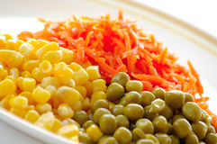 Sweet corn. Plate with the vegetables by the closeup Stock Images