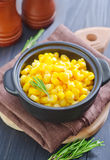 Sweet corn. In black bowl Stock Photography