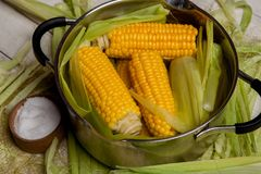Sweet corn boil with salt. cooked sweet corn in pot on wooden table. Sweet corn boil with salt. cooked sweet corn in pot on wooden table stock images