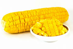 Sweet corn boil on white background Royalty Free Stock Image