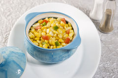 Sweet corn in bowl. Sweet corn in blue bowl Royalty Free Stock Images