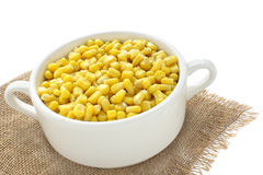 Sweet corn in a bowl. Isolated on a white background Stock Images