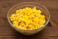 Sweet corn on the bowl on wood Royalty Free Stock Images