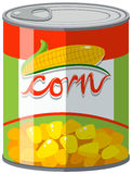 Sweet corn in can. Illustration Stock Photo
