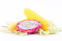 Sweet corn cobs kernels and dragon fruit pitaya on white background  fruit and vegetable isolated Royalty Free Stock Images