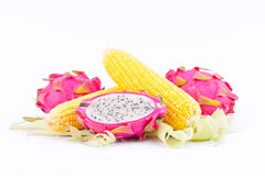 Sweet corn cobs kernels and dragon fruit pitaya on white background  fruit and vegetable isolated food Royalty Free Stock Photography