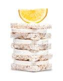 Sweet corn crackers and orange Stock Image