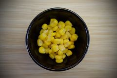 The sweet corn that is in the cup. royalty free stock photo