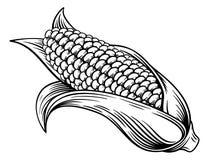 Free Sweet Corn Ear Maize Woodcut Etching Illustration Royalty Free Stock Photography - 183384207