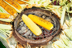 Sweet Corn On Fire Royalty Free Stock Photos
