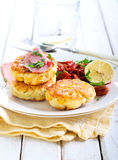 Sweet corn fried cakes Royalty Free Stock Images