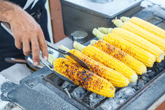 Sweet corn on a grill Stock Image